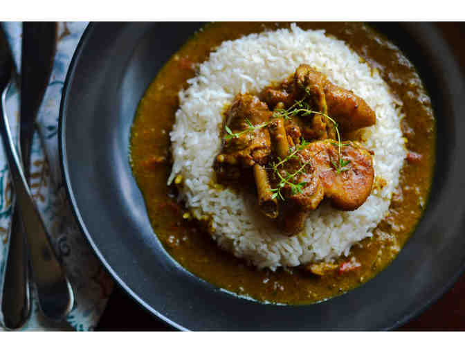 Homecooked Carribbean Curried Chicken Dinner for Four from Burke's Vidya Seejattan