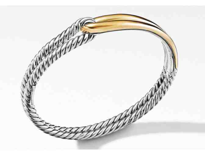 David Yurman Labyrinth Single Loop Bangle Bracelet in Sterling Silver and 18 Karat Yellow