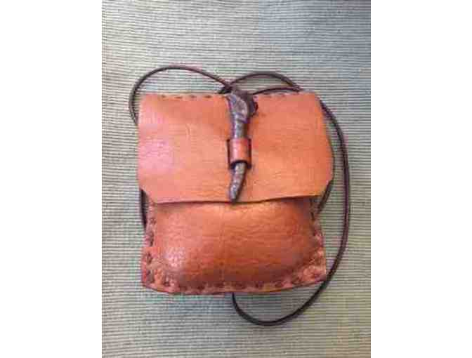 Fine craft leather bag - orange