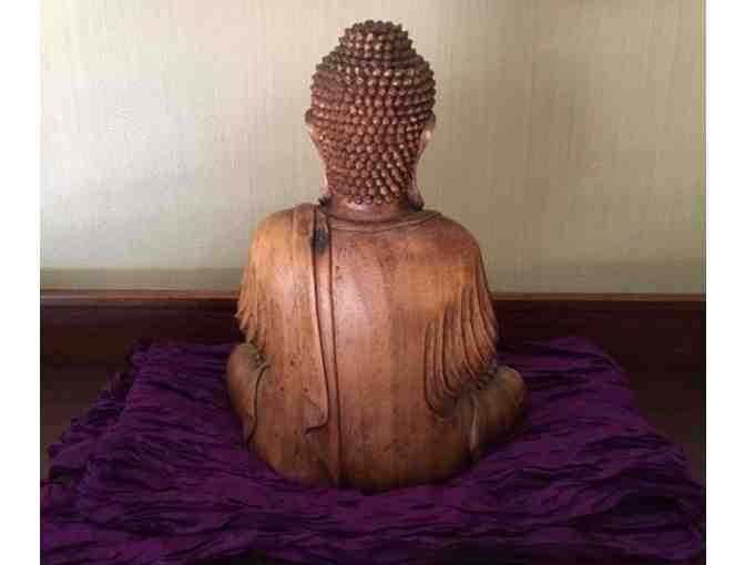 Cambodian Buddha + Purple Silk Scarf from Tamaryn Design