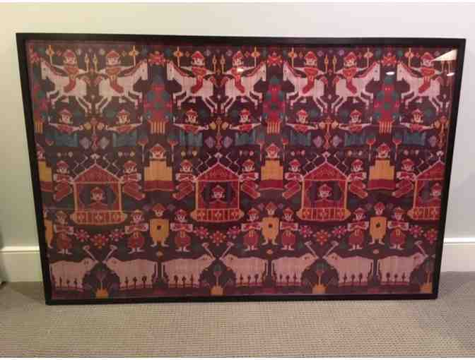 Framed Cambodian Ikat silk tapestry #1 from the Elephant Walk restaurant