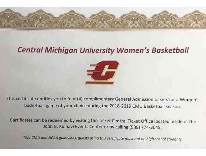 Central Michigan University: 4 General Admission Tickets for a Women's Basketball Game