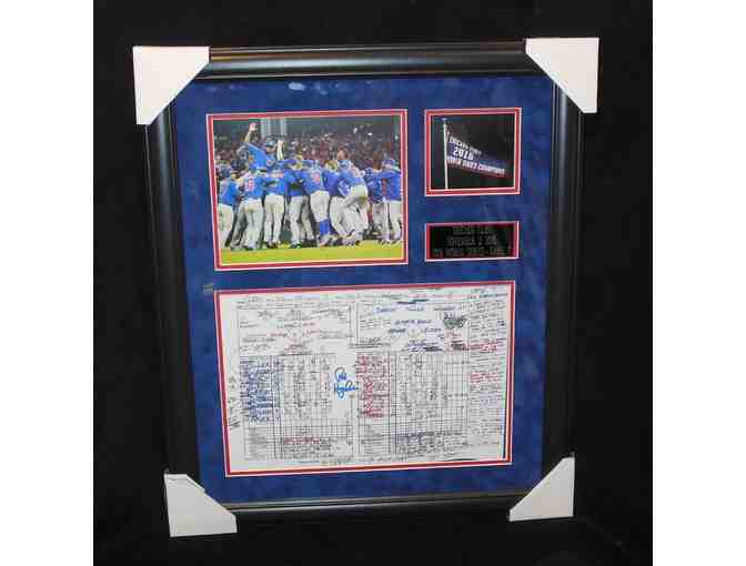 Chicago Cubs replica Game 7 World Series Scorecard with notes from announcer Pat Hughes