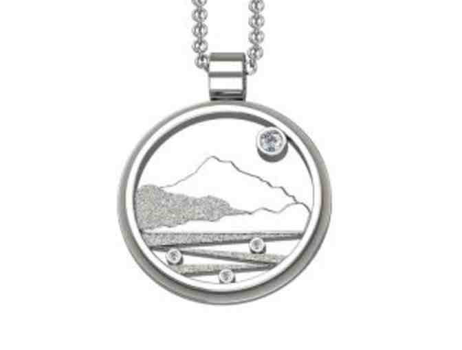 Mount Tam Pendant with Chain - Sterling Silver and White Sapphire