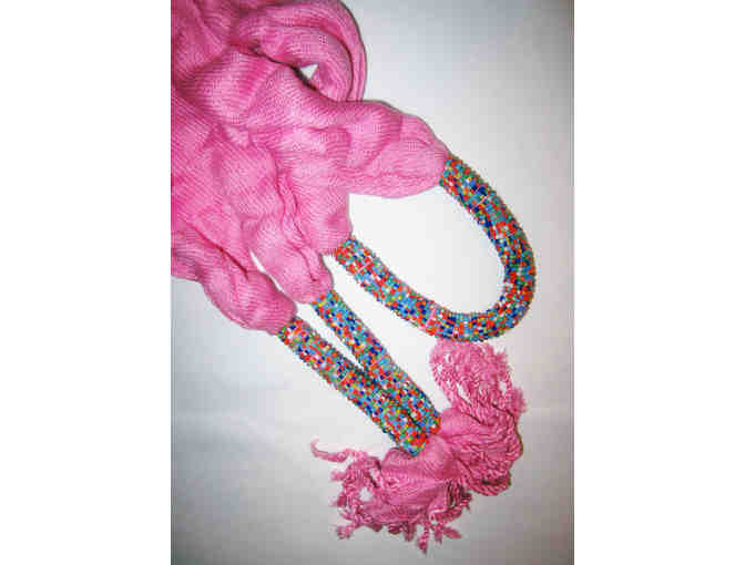 BEATRICE BEADED SCARF: CHERRY BLOSSOM PINK. GV-02 - Photo 2