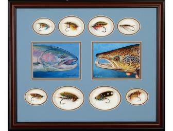 Remarkable Framed Original Artwork, Classic Salmon Flies, and Custom Spey Rod - Photo 1