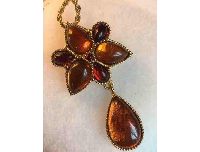 Amber Brooch with Rope Necklace