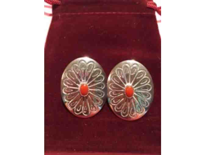 Sterling Silver Pierced Earrings with Orange Coral