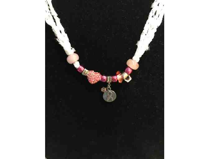 Hand made Necklace with Breast Cancer Ribbon Bead