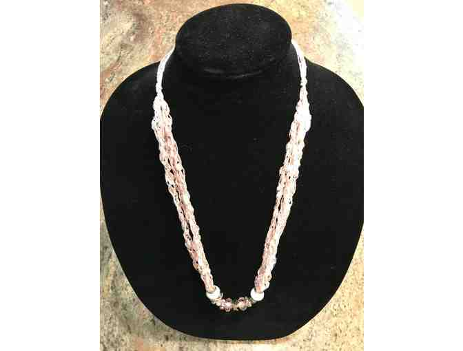 Hand made Necklace with Pink Crystal Breast Cancer Ribbon Beads