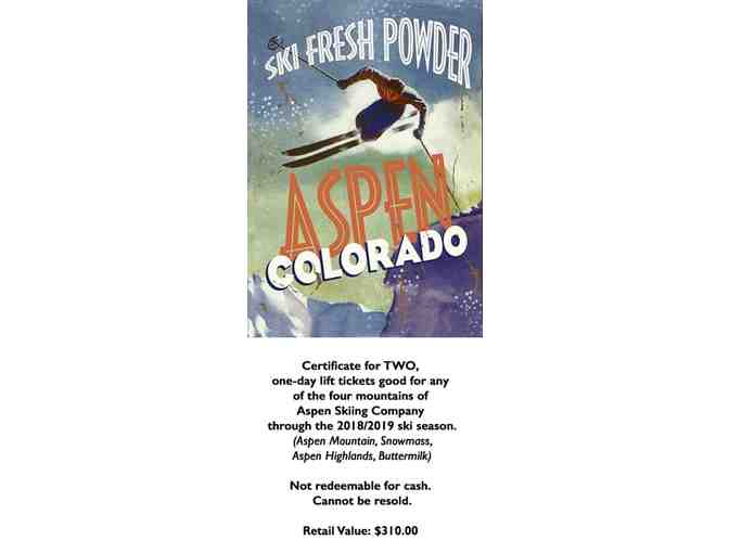 Two One-Day Lift Tickets for Aspen Skiing Company