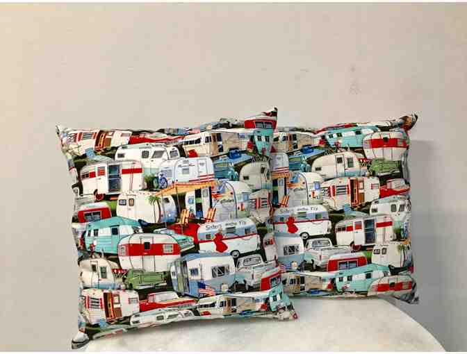 Adorable Hand-Sewn Pillows by a CfR Alumna with two Microwave Bowl Holders
