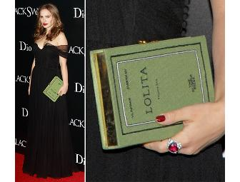 Olympia Le-Tan Moliere Book Clutch, as seen on Natalie Portman & Michelle Williams