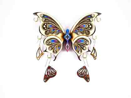 Butterfly Jewelry Display Art with Monarch and Butterfly Earrings by Claire Lorts