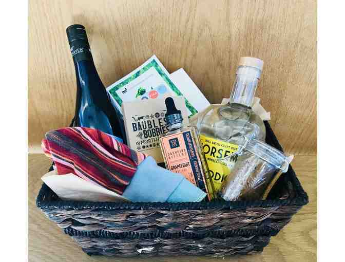 Made in MN Basket - Local Wine, Sassy Knitwear Hat, Gift Card to FIKA, and More!