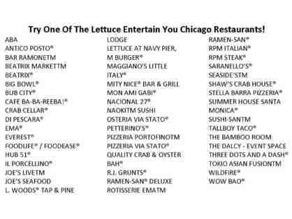$200 Lettuce Entertain You Gift Cards