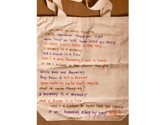 Jenny Lewis of Rilo Kiley wrote a poem on the back of her 'Hot Damn' Tote Bags