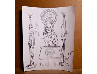 Amy Poehler caricature print (not original), signed by Amy Poehler