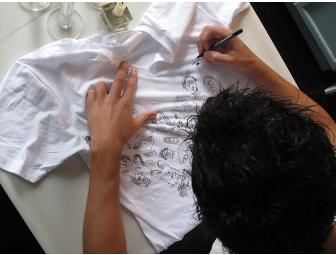 Ed Droste of Grizzly Bear, signed and decorated t-shirt