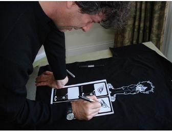 Neil Gaiman signed Scary Trousers t-shirt, buttons and uncut 4-panel postcard!
