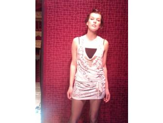 Milla Jovovich one-of-a-kind dress with poetry written by Milla all over it!