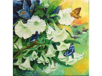 Flowers with Butterflies painting by Sulaksha Dharmadhikari