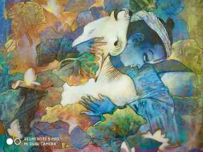 Blue God with pet calf painting by Giridhar Gowd