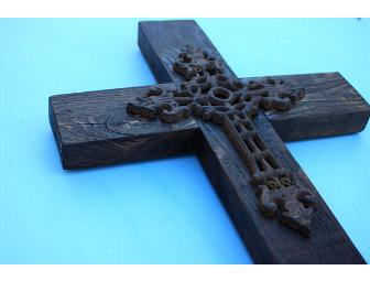 Rustic Wooden Cross with Cast Iron Cross Inset