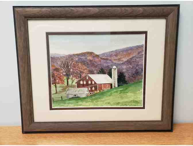 Watercolor of a Farm Scene