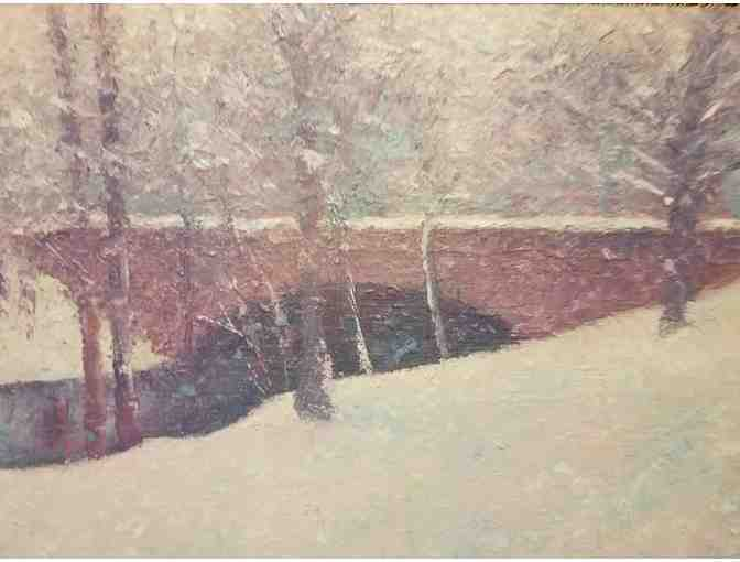 Oil Painting - Mystic River Bridge in Winter