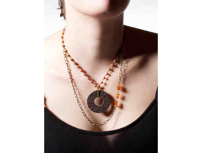 749.  Amber, Wood, and Found Object Necklace by Pallas Ravae