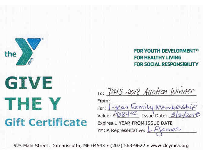 CLC YMCA One Year Family Membership