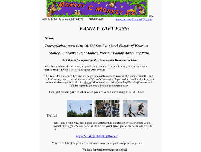 Monkey C Monkey Do - Family of Four Gift Pass