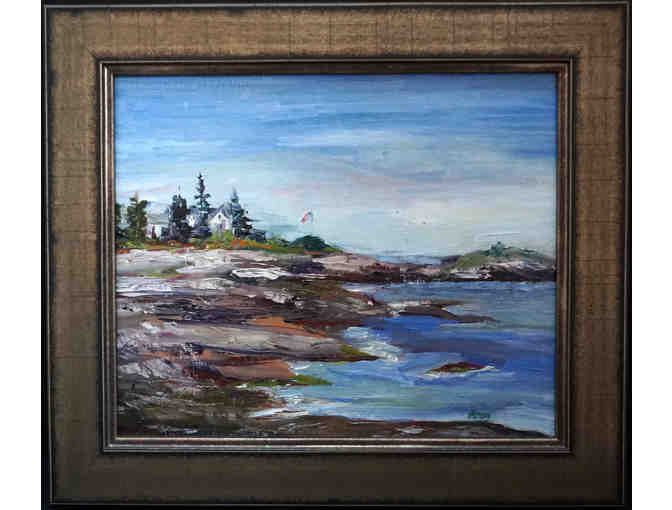 Oil on canvas of Boothbay Harbor