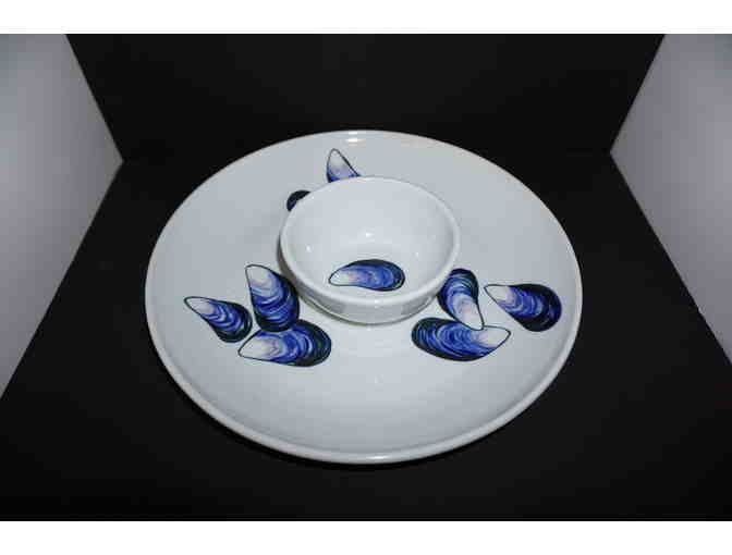 Sheepscot River Pottery Appetizer Dip Bowl and Platter Set