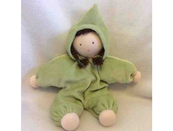 Baby's First Waldorf Doll, a small doll your child will love! In Dark Teal hoodie!