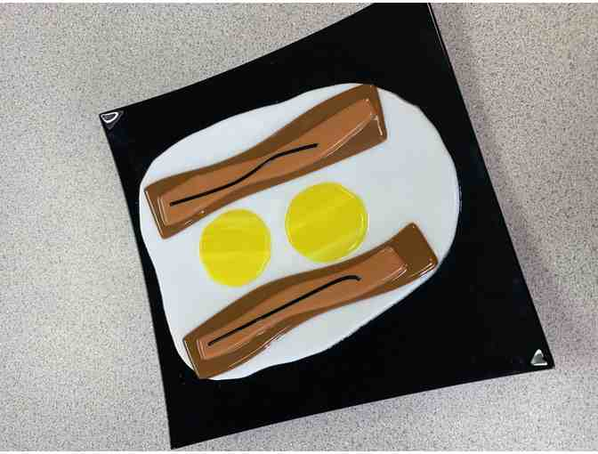 Bacon and Eggs Glass Plate - Photo 1
