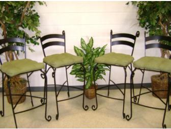 Pier One Black Wrought Iron Bar Stools (4)