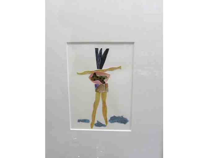 "A Beautiful, Original Framed Watercolor/Collage, ""Mambo"" (2013), by Jon Taner - Photo 1"