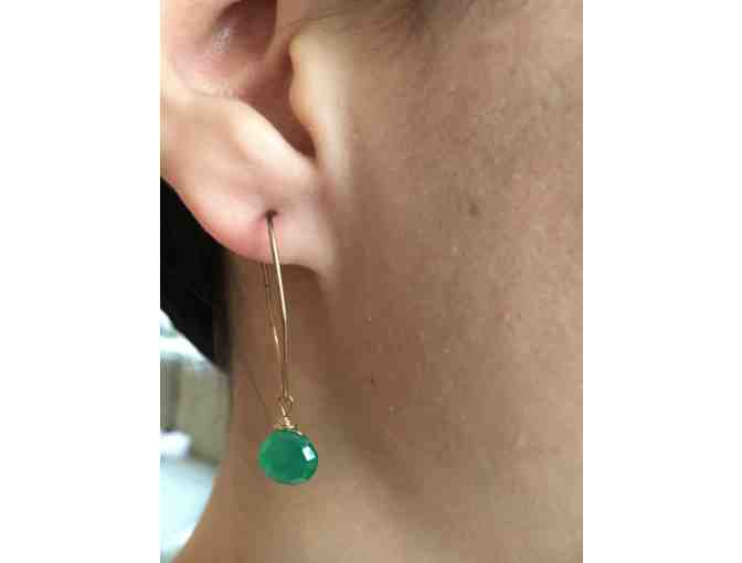 14k Gold and Green Sapphire on Hoop Pierced Earrings - Photo 2