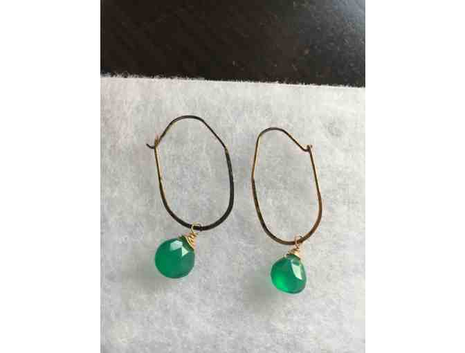 14k Gold and Green Sapphire on Hoop Pierced Earrings - Photo 1