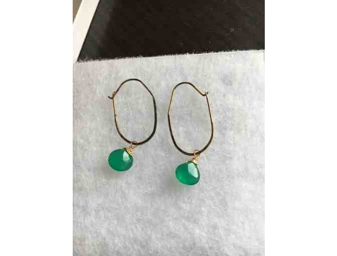 14k Gold and Green Sapphire on Hoop Pierced Earrings - Photo 3