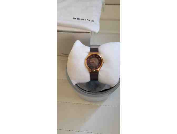 Bering Ladies Polished Rose Gold Colored Stainless Steel Solar Watch - Photo 2