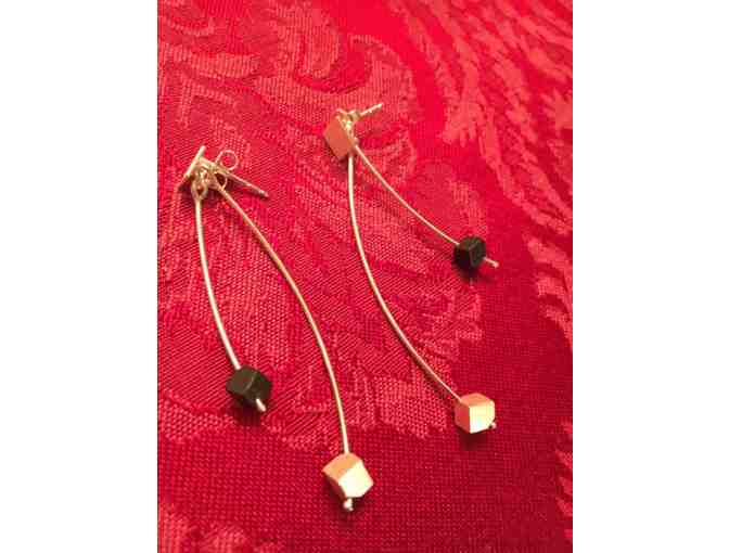 Brushed Sterling Hanging Earrings with Silver & Onyx Cube Beads - Photo 1