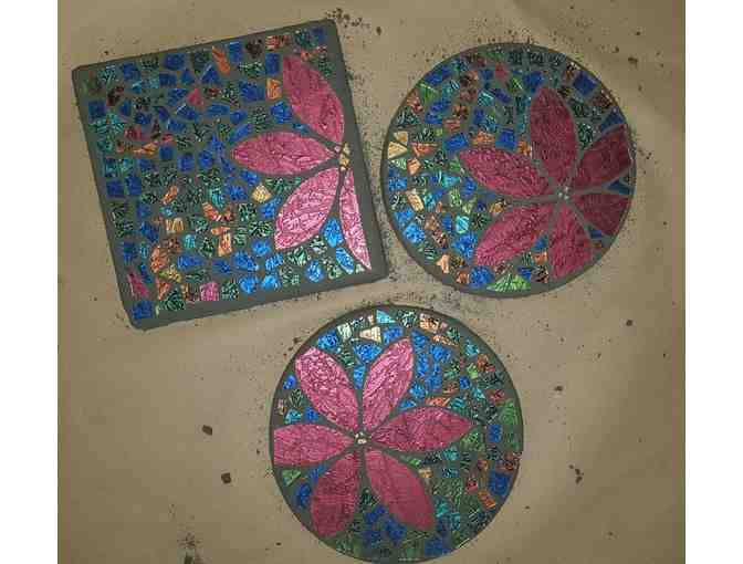 Set of 3 Stained Glass Stepping Stones by Debi McCullough
