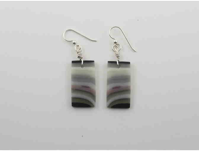 Black, Grey and White Glass Earrings by Cherie Marshall Glass