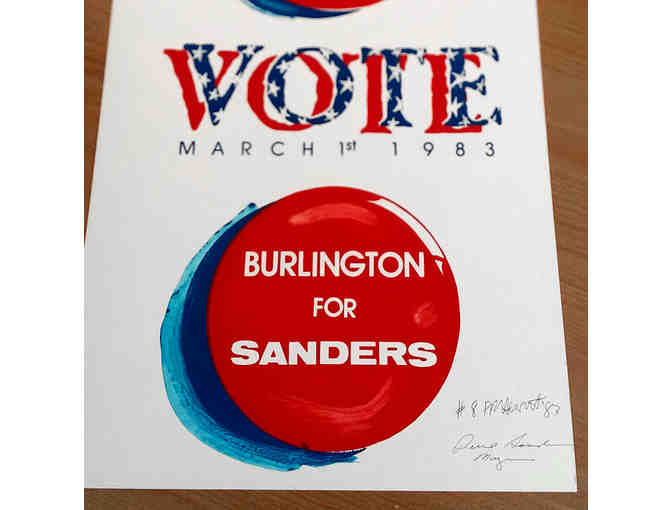 Original Signed Monoprint for Bernie Sanders 1983 Mayoral Campaign