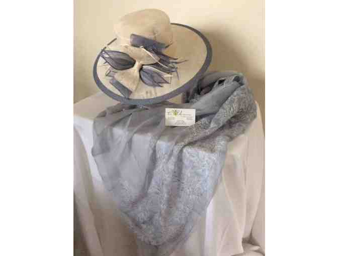 Beautiful hat and silk scarf from the lovely collection of -  Two B Accessories