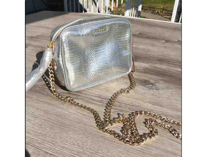 Victoria's Secret Silver Faux Python Metallic Cross Body Bag with Tassel and Gold Chain