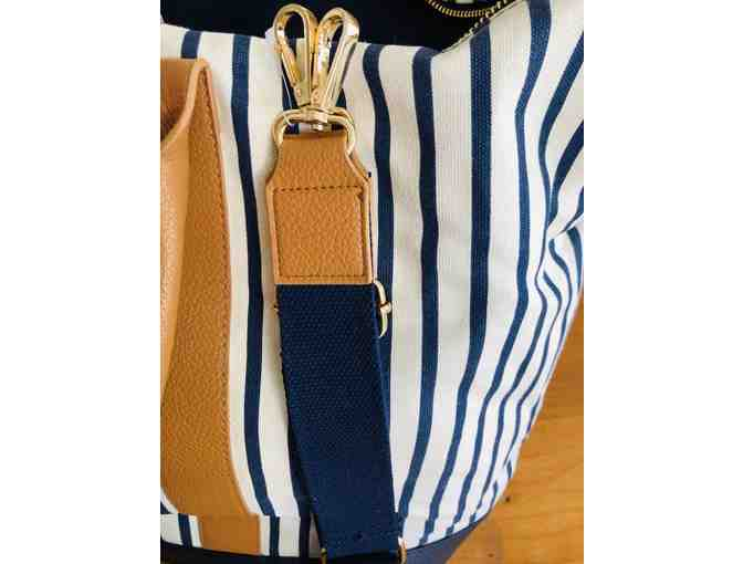 Striped Canvas Tote Bag with Added Crossbody Strap